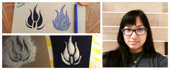 Blake flower emblem and hair