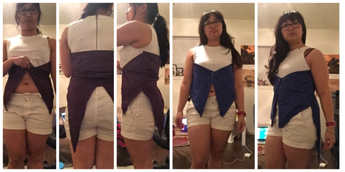 Vest Prototype 1.0 (left) and 2.0 (right). 1.0 was too short and bunched up in the back. 2.0 was a little short in the front but otherwise was done!
