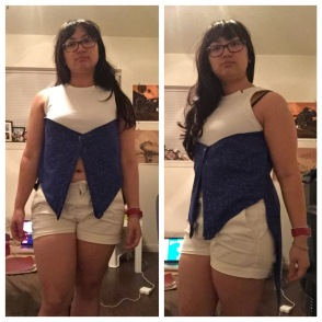Vest Prototype 2.0 was a little short in the front but otherwise close to done.