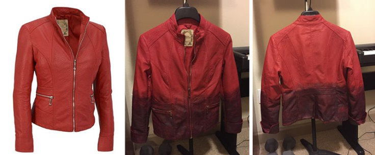 Red leather jacket: before and after