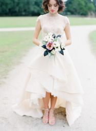 High-low-hem-lace-wedding-dress