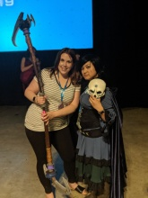 With Melissa Sternenberg, voice of Maria Calavera in RWBY